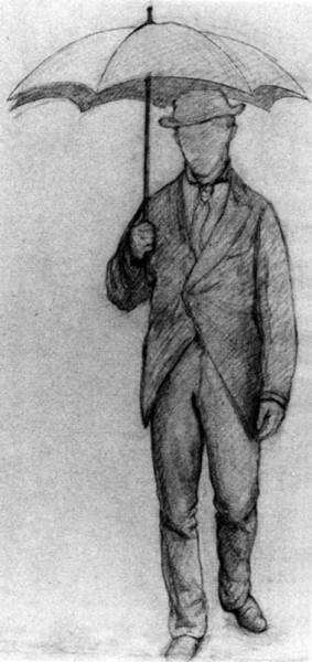 Gustave Caillebotte, Homme sous un parapluie, de face (Études pour Rue de Paris, temps de pluie), 1877, Crayon Conté sur papier, 60,4 x 44,5 Collection particulière © Brame & Lorenceau Editions