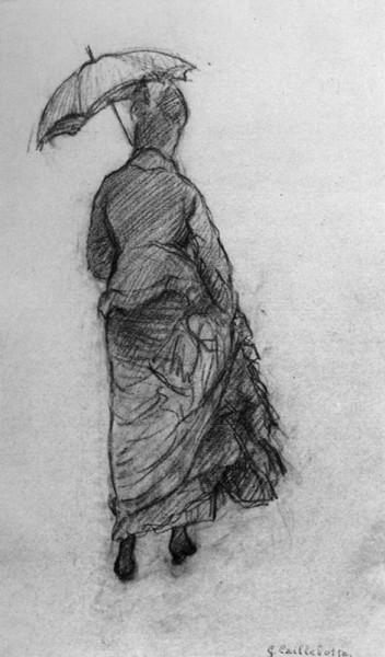 Gustave Caillebotte, Femme à l'ombrelle, vue de dos, petite ombrelle (Études pour Rue de Paris, temps de pluie), 1877, Mine de plomb et fusain sur papier, 47 x 31,7 Collection particulière © Brame & L